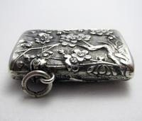 Very Rare Wang Hing Solid Silver Chinese Export Antique Vesta Case Match Box, 19th-Century c.1890 (3 of 9)