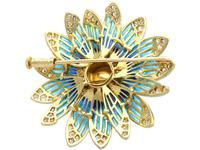 Pearl and 2.05 ct Diamond, 14ct Yellow Gold Plique-a-Jour Brooch - Vintage Circa 1950 (6 of 9)