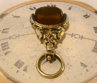 Antique Pocket Watch Chain Fob 1870s Victorian Huge Brass & Amber Stone Swivel Fob (6 of 10)