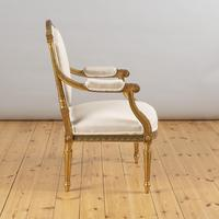 Pair of Large 19th Century Louis XV1 Style French Gilt Armchairs (5 of 10)