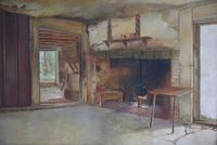 19th Century Oil on Canvas Interior Scene with Fireplace (2 of 11)