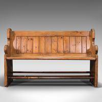 Antique Bench Seat, English, Pine, Pew, Ecclesiastic Taste, Victorian c.1900 (2 of 12)