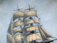 Large Beautiful Mid-Century Full-Masted Ship in Rough Seas Seascape Oil Painting (7 of 12)