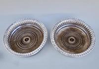 Unusual Pair of Georgian Silver Plated Wine Coasters c.1800 (3 of 4)