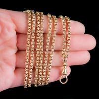 Antique Victorian Long Guard Chain Necklace 18ct Gold c.1880 (2 of 5)