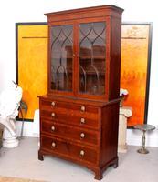 Secretaire Bureau Bookcase Astragal Glazed Mahogany (15 of 17)
