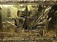 1940's Brass Embossed Marine Galleon Ship Magazine Rack Stand (10 of 10)