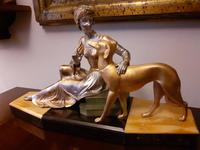 French Art Deco Sculpture Statue Lady with Greyhound (7 of 7)