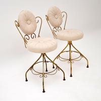 Pair of Vintage French Brass Swivel Side Chairs (3 of 10)