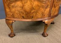 Burr Walnut Queen Anne Style Demi Lune Commode (9 of 11)