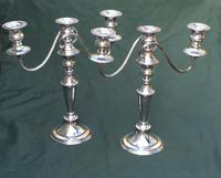 Pair of Edwardian Silver Plate on Copper Three Branch Candelabra (3 of 8)