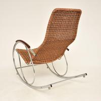 1970's Vintage Rattan & Chrome Rocking Chair (5 of 12)