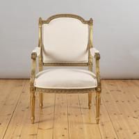 Pair of Large 19th Century Louis XV1 Style French Gilt Armchairs (3 of 10)