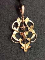 Antique Art Nouveau Lavalier Pendant, Ruby & Pearl, 9ct Gold (8 of 10)