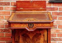 Antique Victorian Inlaid Burr Walnut Davenport Writing Desk (7 of 12)