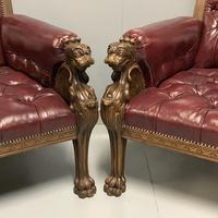 Pair of 19th Century Buttoned Leather Armchairs with Grifins (11 of 11)