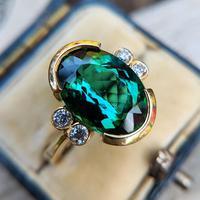 Vintage 18ct Gold Green Tourmaline & Diamond Dress Ring (3 of 13)