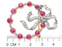 3.00ct Burma Ruby & 1.02ct Diamond, 15ct Yellow Gold Brooch - Antique c.1900 (7 of 12)