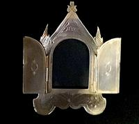 Small Brass Gothic Revival Easel Photo Frame