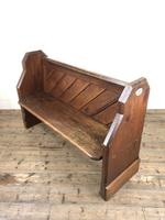 Antique Pitch Pine Church Pew with Enamel Number 27 (4 of 13)