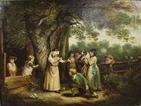 Pair of Early 19th Century Country Genre Scenes Oil on Canvas (20 of 21)