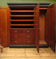 Antique Black Painted Triple Linen Press Wardrobe in 4 Parts, Gothic Shabby Chic (7 of 19)