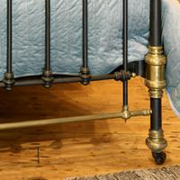 Late Victorian Brass & Cast Iron Antique Bed in Black (7 of 7)