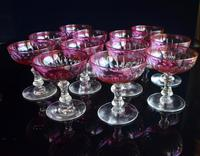 12 Cranberry Champagne Glasses in the style of Baccarat 1900-1920 (6 of 6)