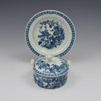 First Period Worcester Porcelain Butter Tub & Stand The Fence Pattern c.1770 (3 of 9)