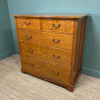 Striking Victorian Satinwood Antique Chest of Drawers (4 of 7)