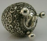 Stunning Indian Eastern Solid Silver Pepper Spice Pot Egg Shaped c.1880 (2 of 9)