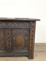 Early 20th Century Carved Oak Coffer or Blanket Box (6 of 12)