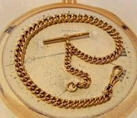 Victorian Pocket Watch Chain 1890s Antique Large 14ct Rose Gold Filled Albert With T Bar (3 of 11)
