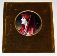 Enamelled Miniature Portrait Saint Fabiola after Jean Jacques Henner (4 of 6)