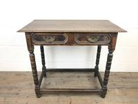 Antique Oak Side Table with Geometric Drawers (3 of 10)