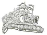 2.65ct Diamond & 0.28ct Emerald, Platinum Ship Brooch - Antique c.1910 (4 of 10)