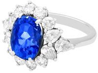 6.83ct Sapphire & 2.84ct Diamond, Platinum Dress Ring - Vintage c.1970 (3 of 8)