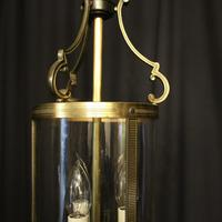 French Convex Gilded Triple Light Hall Antique Lantern (5 of 10)