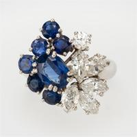 Vintage Chaumet 1.93 Carat Sapphire & 0.90 Carat Diamond Dress Ring c.1960 (5 of 9)