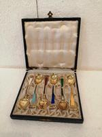 Set of Six Danish Enamel & Silver Gilt Spoons (7 of 7)