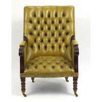 Regency Style Mahogany Library Chair with Mustard Leather Button Back (3 of 6)
