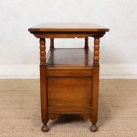Oak Monks Bench Settle Carved Folding Hall Arts & Crafts (11 of 12)