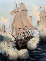 Large Fabulous Vintage 20th Century Maritime Naval Battle Ships Seascape Oil Painting (8 of 12)