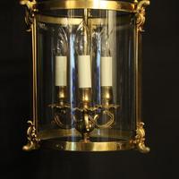 French Gilt Bronze Convex Antique Hall Lantern (8 of 10)