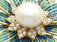 Pearl and 2.05 ct Diamond, 14ct Yellow Gold Plique-a-Jour Brooch - Vintage Circa 1950 (9 of 9)
