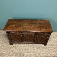 17th Century Oak Geometric Moulded Antique Coffer (2 of 7)