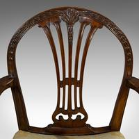 Pair of Antique Hepplewhite Revival Carvers, Mahogany, Armchair, Victorian (3 of 12)