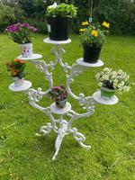 Victorian 19th Century Garden Cast Iron Painted White 6 Branch Plant Stand (6 of 47)