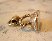Antique Pocket Watch Chain Fob 1830s Georgian Rose Gilt & Mother Of Pearl Fob