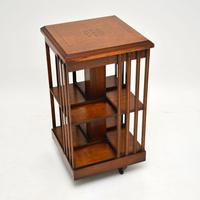 Antique Inlaid Walnut Revolving Bookcase